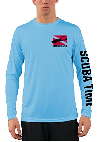 GAMEFISH USA UPF 50 Long Sleeve Microfiber Moisture Wicking Performance Fishing Shirt Scuba Diving Tank