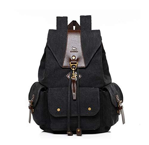 Canvas Vintage Backpacks, Popoti Women Men School Backpack Rucksack bag Unisex Daypacks Laptop Backpack for Outdoor Sports Traveling Hiking Large Capacity Bookbag (Black) ()
