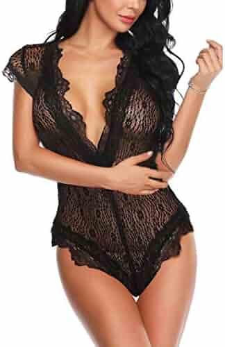 94ec7beb9 Donnalla Sexy Lace Lingerie for Women Sleepwear Deep V Lace Teddy Bodysuit One  Piece Babydoll