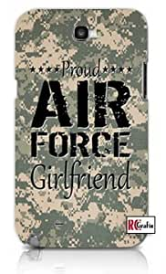 Proud Army Girlfriend United States USA Camo Unique Quality Hard Snap On Case for Samsung Galaxy Note 2 Note II N7100 (WHITE)