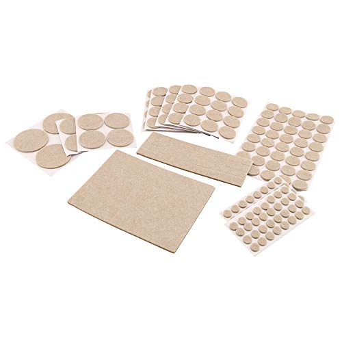Prime-Line MP76582 Furniture Felt Pad Assortment, Self-Adhesive Backing, Beige, Round and Rectangle Shapes, 7 Sizes, Pack of 181