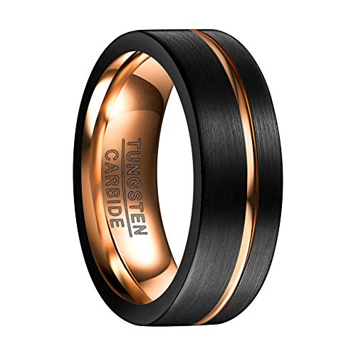Vakki Unisex 8mm Black Brushed Matte Finish Comfort Fit Tungsten Carbide Rings Wedding Bands High Polish Size 12