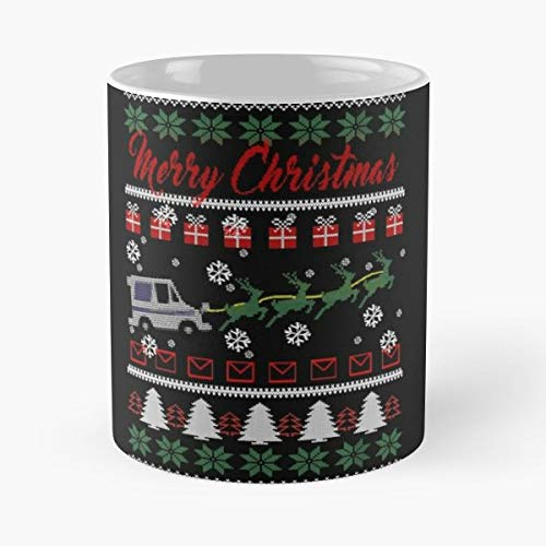 Postal Worker Merry Christmas Ugly Sweater Holiday T-shirt Classic Mug - The Funny Coffee Mugs For Halloween, Holiday, Party Decoration 11 Ounce White Mtecind.