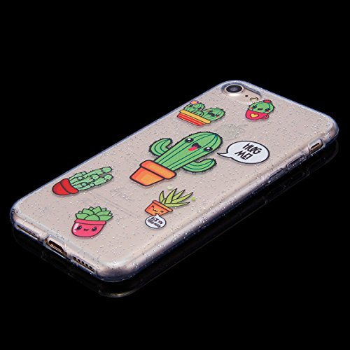 Funda iPhone 7/8,SainCat Moda Alta Calidad suave de TPU Silicona Suave Funda Carcasa Parachoques Diseño pintado Patrón para Funda TPU Silicona Flexible Ultra Delgado Ligero Goma Case Cover Caja Suave  Cactus
