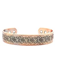 Wide Band Magnetic Copper Bracelet for Arthritis Therapy - Celtic Design Suitable for Men or Women