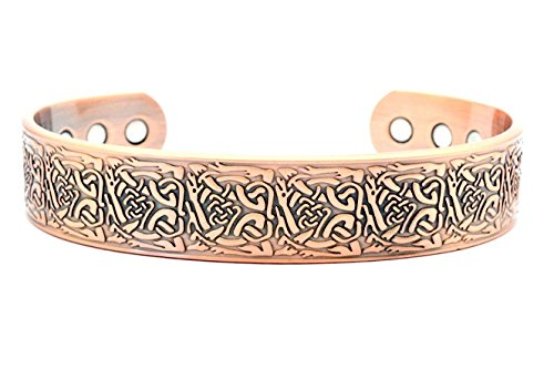 Wide Band Magnetic Copper Bracelet for Arthritis Therapy - Celtic Design Suitable for Men or Women ORIGIN SCBC223