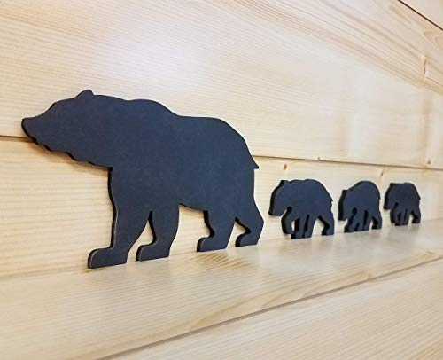 - Black Bear Family 4 - Mama and Baby Art - Bear Family Art - Bear Wall Art - Bear Woodwork - Wooden Bear Silhouette - Animal Art