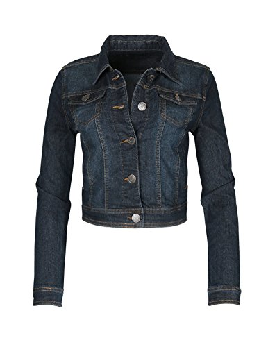 Dream Supply Women's Long Sleeve Crop Top Button Up Comfort Stretch Denim Jacket