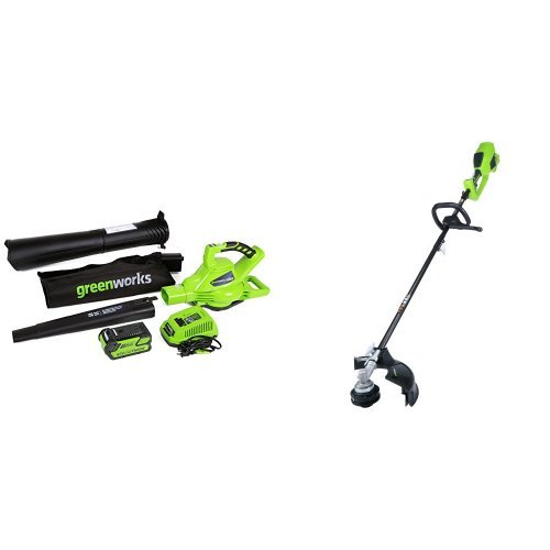 GreenWorks DigiPro G-MAX 40V Cordless Blower Vacuum and String Trimmer by Greenworks