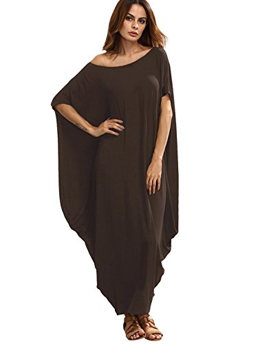 Verdusa Women's One Off Shoulder Caftan Sleeve Harem Maxi Dress Brown L