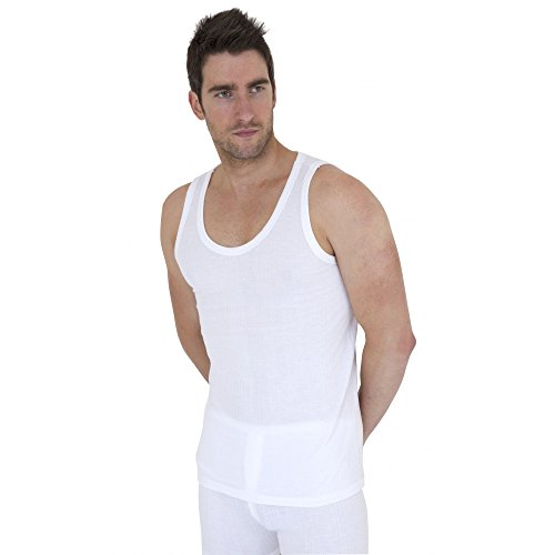Mens Thermal Underwear Sleeveless Vest (Pack of 2) (British Made) (Chest: 37-39inch (Medium)) (White)