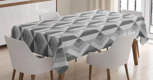 (Ambesonne Grey Decor Tablecloth, Triangles with Parallel Lines in Dark and Light Retro Minimalist Pattern Artwork, Dining Room Kitchen Rectangular Table Cover, 60 W X 84 L Inches, Ash Shadow)