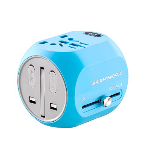 BRIGHTWORLD Travel Adapter, Worldwide All in One Universal Travel Charger Kit and Power Plug Converter with USB and Type C Charging Port Kit for Cell Phone Laptop Camera in USA - Blue Norway Light