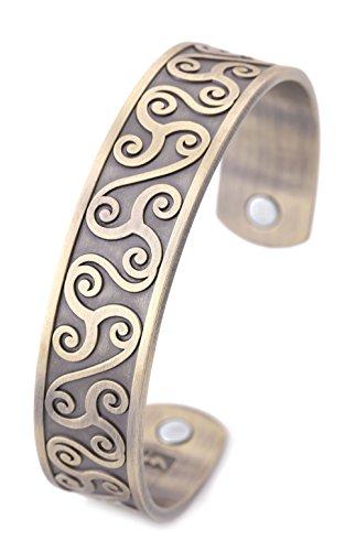 Irish Celtic Cuff Bangle (Magnetic Therapy Bracelet Irish Totem Celtic Knot Antique Sliver Rheumatoid Pain Relief Cuff Bangle (Antique Bronze))