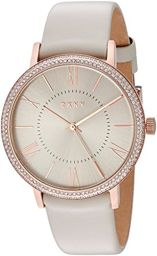 DKNY Women's 'Willoughby' Quartz Stainless Steel and Leather Casual Watch, Color:Grey (Model: NY2545)