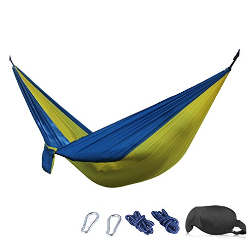 Camping Hammock - 210T Parachute Nylon Portable Heavy-Duty Camp Hammocks - Bundled with 3D Eye Mask,Ropes, Carabiners (Yellow/Blue, (Eno Doublenest Hammock Patriot)
