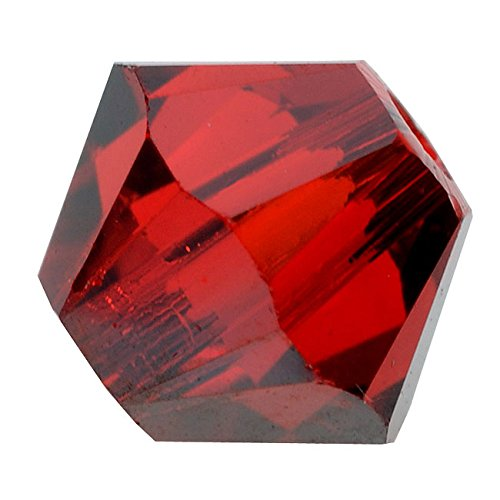 Swarovski Crystal, #5328 Bicone Beads 4mm, 24 Pieces, Light Siam Satin Red