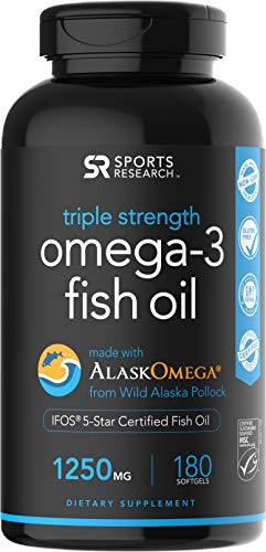 Omega-3 Wild Alaskan Fish Oil (1250mg per capsule) with Triglyceride EPA & DHA | Heart, Brain & Joint Support | IFOS 5 Star Certified, non-GMO & Gluten free ~ 180 Fish gel Capsules