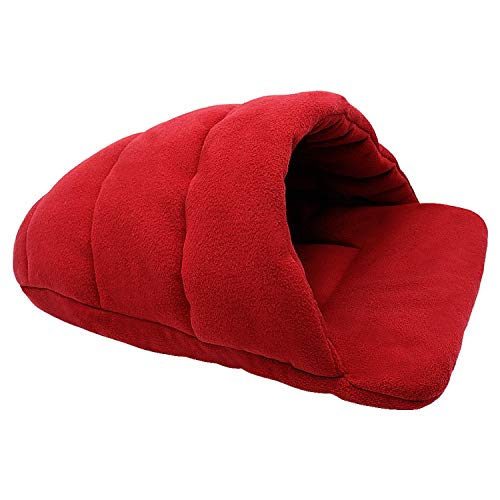 (sevenTimes Dog Bed House for Small Dogs Dog Cat Kennel Mat Cat Sleeping Bag Sofa Warm Pet Cushion Nest for Small Medium Dog Cat Winter,Red,XL)