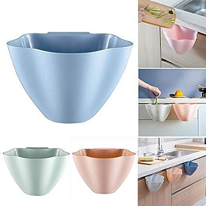 1PC creativo appeso della spazzatura, riutilizzabile cucina appeso cesti cestini, 3colori opzionale 21x16x14cm Blue BaconiXfF
