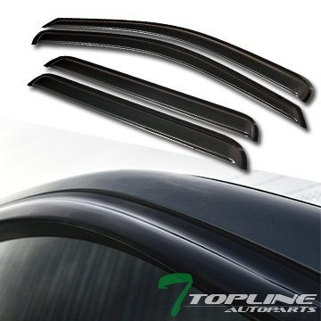Topline Autopart Smoke Window Visors Deflector Vent Shade Guard 4 Pieces For 05-10 Jeep Grand Cherokee