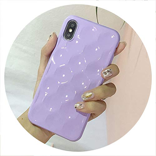 No Buy No Bye Phone Case for iPhone 6 6S 7 8 Plus X Concave Surface Plating Candy Colors Soft TPU Graphic Phone Coque Fundas Cover Bag,Purple,for iPhone 8 Plus