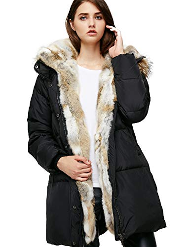 Escalier Women's Down Jacket Winter Long Parka Coat with Raccoon Fur Hooded Black 2XL