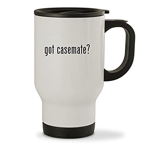 got casemate? - 14oz Sturdy Stainless Steel Travel Mug, White (Iphone4 Tough Cases)