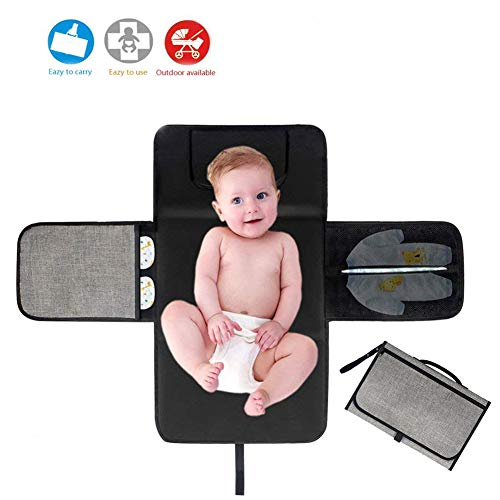 Portable Diaper Changing Pad Station,Baby Diaper Changing Mat Travel Waterproof Foldable Changing Pad Kit with Head Cushion and Pockets for Baby Newborn Infant by Ayuqi