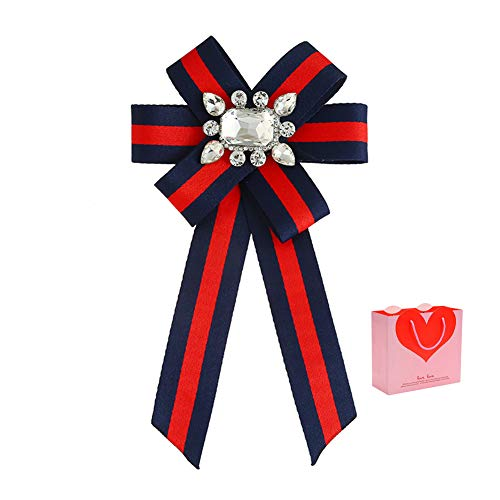 Ribbon Rhinestone Crystal Brooches Pin Bow Tie Wedding Party Bow Tie Ribbon Pre Tied Bow Collar Brooch Pin for Women & Girl (Red+Dark Blue)