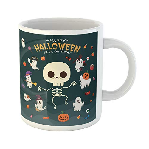 Semtomn Funny Coffee Mug Broomstick Vintage Halloween Witch Ghost Vampire Mummy Pirate Skeleton 11 Oz Ceramic Coffee Mugs Tea Cup Best Gift Or Souvenir]()