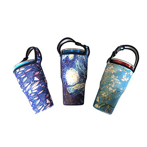 Sunkey Neoprene Tumbler Carrier Holder 30 oz Insulated Thick Sleeve with Handle 3 pack ()