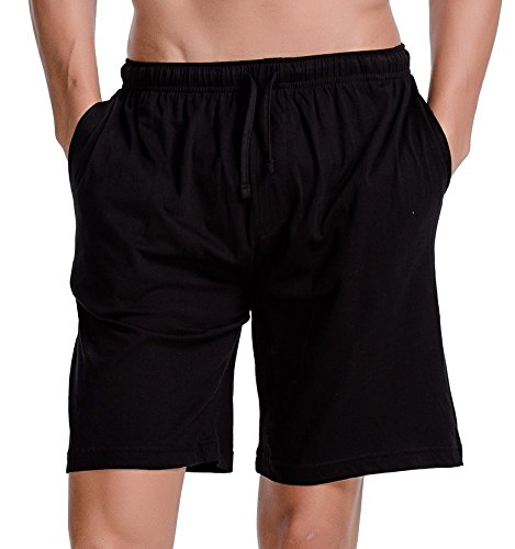 Mens Cotton Jersey Short (CYZ Men's Comfort Cotton Jersey Shorts With Pockets-Black-S)