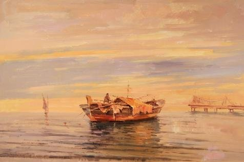 'a Small Boat On The Sea' Oil Painting, 20x30 Inch / 51x76 Cm ,printed On High Quality Polyster Canvas ,this Cheap But High Quality Art Decorative Art Decorative Canvas Prints - Italian Charm Boat