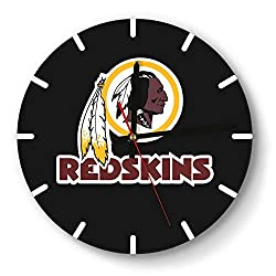 MIWQU Personality Washington-Redskins-red-White-Logo-Word- Style Wall Clock Decorative Home Quiet Clock