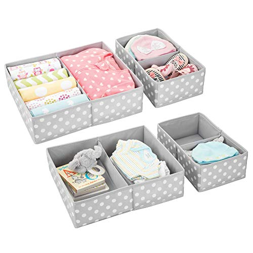 mDesign Soft Fabric Dresser Drawer and Closet Storage Organizer Set for Child/Kids Room, Nursery Divided Organizers in Two Sizes - Fun Polka Dot Pattern, Set of 4, Light Gray with White Dots