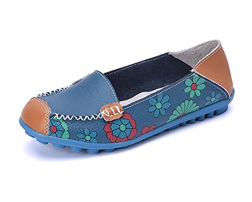 KEESKY Womens Slip-on Flats Casual Shoes - Floral Print Leather Driving Loafers (7.5 B(M) US, (Floral Print Leather)