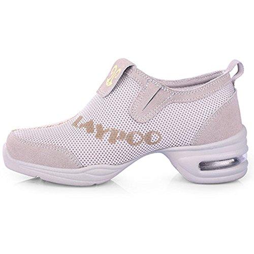 VECJUNIA Ladies Mesh Dance Trainer Dance Shoes Walking Shoes Gray AhdZ8JiLzv