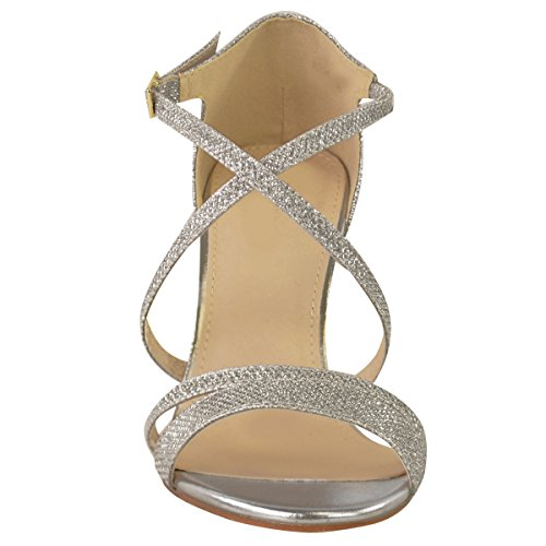 Silver Sandals Fashion Kitten Party Wedding Shimmer Prom Womens Diamante Low Size Heel Ladies Metallic Thirsty Strappy qOwTa