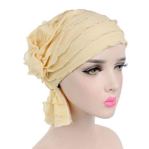[Ever Fairy 3 Colors Pack Chemo Cancer Head Scarf Hat Cap Ethnic Cloth Print Turban Headwear Women Women's Ruffle Beanie Scarf (Beige(1] (Ethnic Hats)