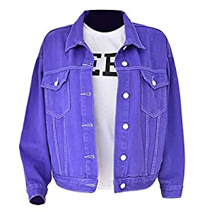 LJYH Women's Loose Casual Outwear Couple Denim Jacket Macarons Hip Hop Jackets Purple