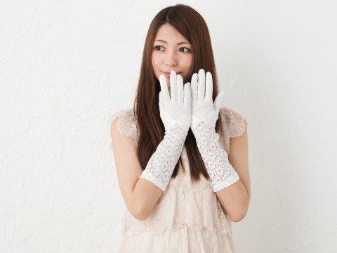 oteteUV手袋セミロングタイプレース切り替えリボン付き