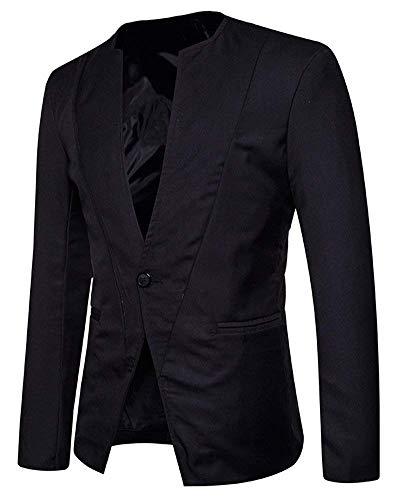Couleur 1 Unie Blazer Vêtements Ajusté Bouton Tailles Mens Schwarz Confortables Suit Outwear Jacket Casual YRwF8afY