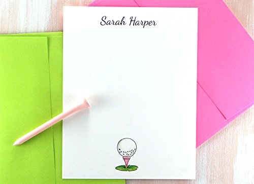 Personalized Stationery Set, Personalized Golf Gifts for Women, Birthday Gifts for Her, Golf Balls, Thank You Card, Stationary Set of 12