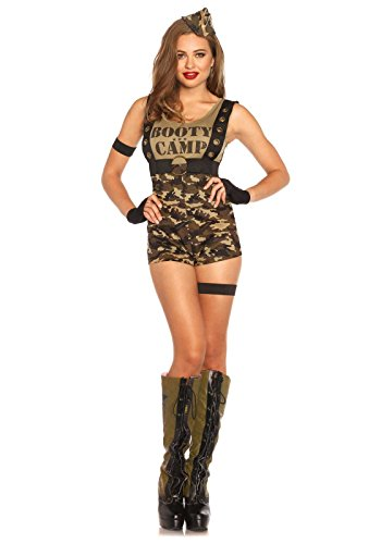 [Leg Avenue Women's 6 Piece Booty Camp Cutie Military Costume, Camo, Small] (Sexy Army Costumes For Women)