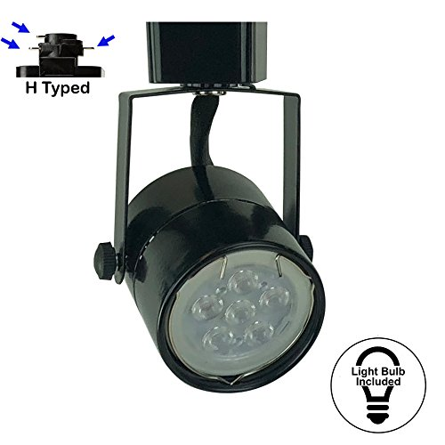 D&D Brand H System GU10 Line Voltage Track Lighting Fixture Black with 7.5W 3K Warm White LED Bulb HA-4519-LED3K-BK by Dash & Direct