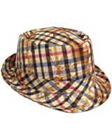 Mens Ladies Unisex Floral Checked Trilby Fedora Hat