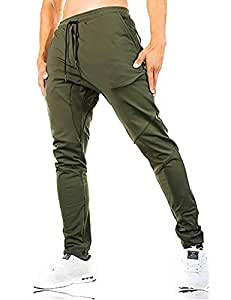 FASKUNOIE Men's Fitness Pants Exercise Active Pants Breathable Running Trousers with Zipper Army Green
