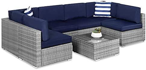 Best Choice Products 7-Piece Modular Outdoor Sectional Wicker Patio Furniture Conversation Set w/ 6 Chairs, 2 Pillows, Seat Clips, Coffee Table, Cover Included - Gray/Navy