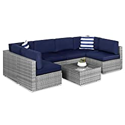 Garden and Outdoor Best Choice Products 7-Piece Modular Outdoor Sectional Wicker Patio Furniture Conversation Set w/ 6 Chairs, 2 Pillows… patio furniture sets